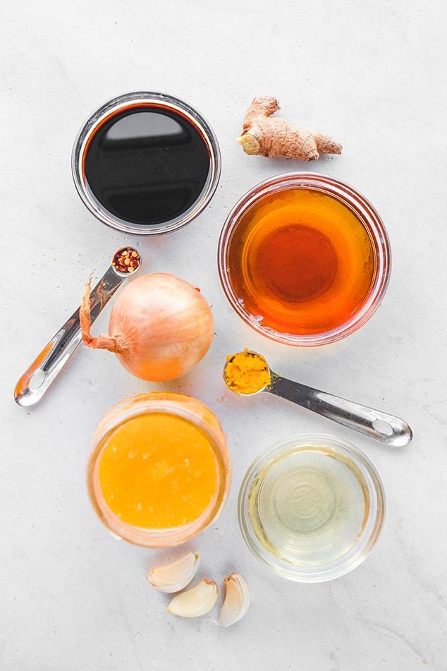 Фото ингредиентов для соуса из апельсина и имбиря