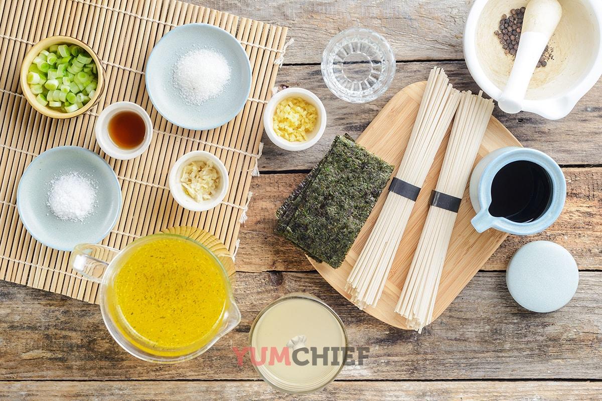 Ингредиенты для супа рамен - рецепт с фото