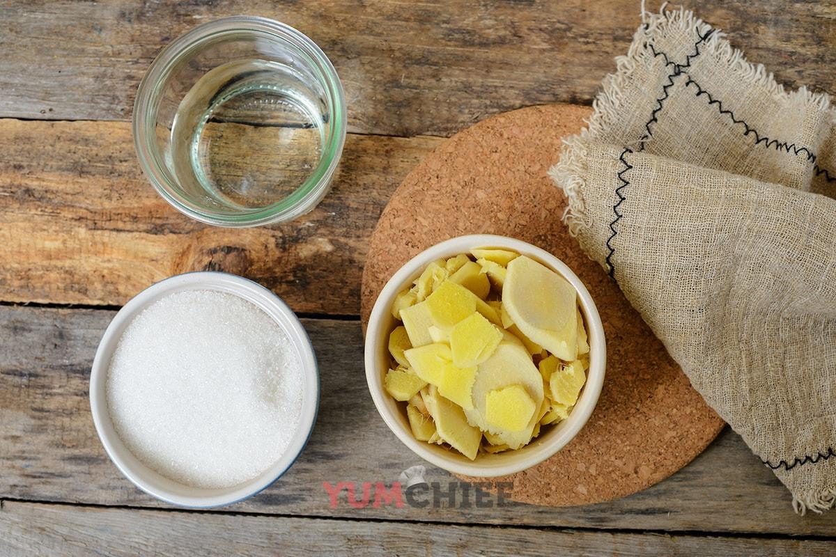 Ингредиенты для приготовления имбирного сиропа
