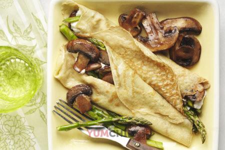 Рецепт блинов с грибами и курицей