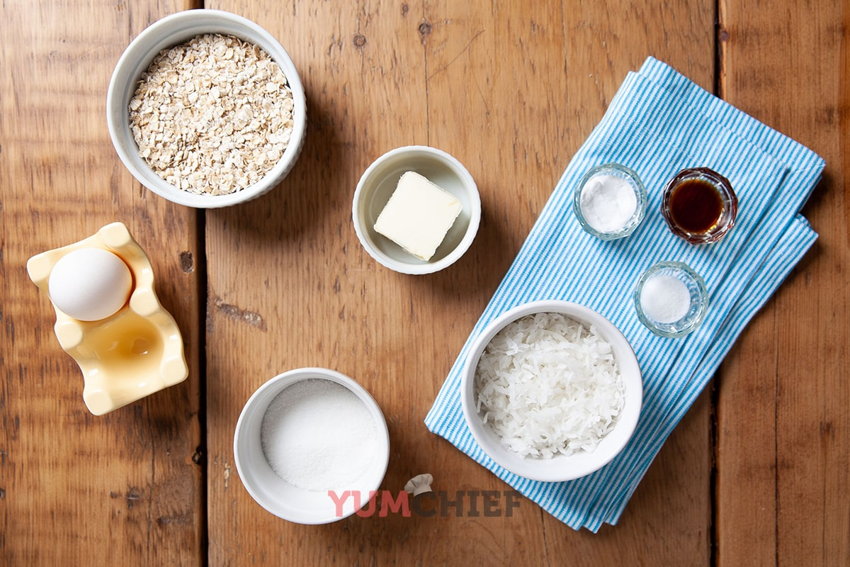 Фото ингредиентов для овсяно-кокосового печенья