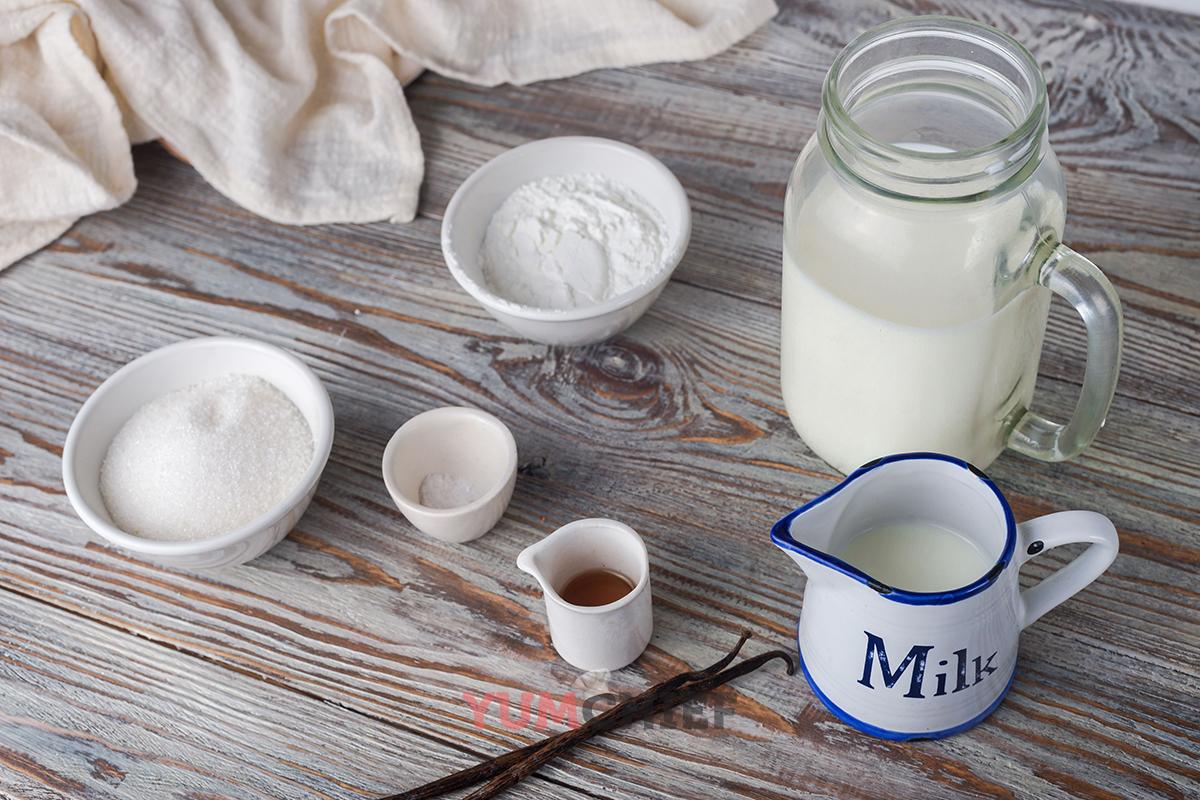 Ингредиенты для ванильного пудинга